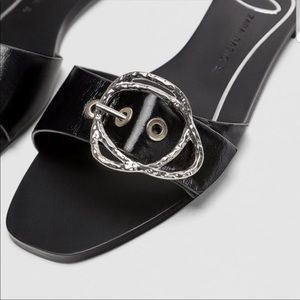 Black Leather Flat Buckle Sandals
